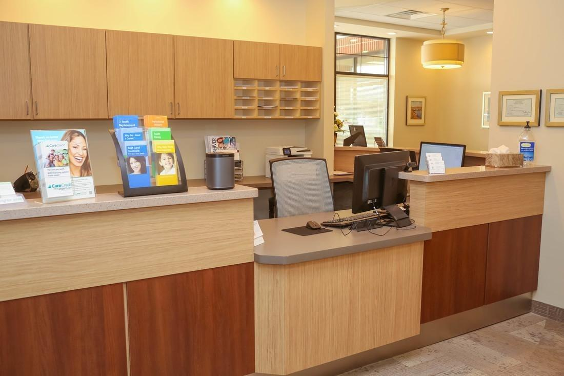 Patient checkout and scheduling area at Bethlehem Town Family Dental in Glenmont, NY